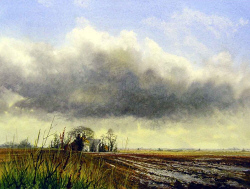 Watercolour - The Brooding Cloud, mid-Norfolk